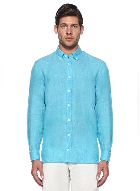 Beymen Collection %100 Keten Uzun Kollu Gömlek Turkuaz